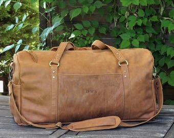 Caramel brown leather dufflebag, italian leather mens womens duffel bag, weekender bag, personalized bag, overnight bag, mens travel bag D12