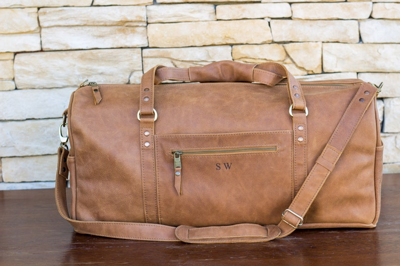 5bb44d7df Leather duffle bag in brown color classic real leather travel   Etsy