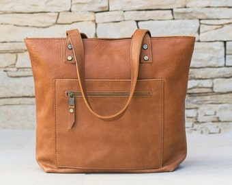 Leather Tote Bag with Zipper, Laptop Bag, Woman Handbag Leather Bag Leather Purse Gift for Women Handmade tote bag