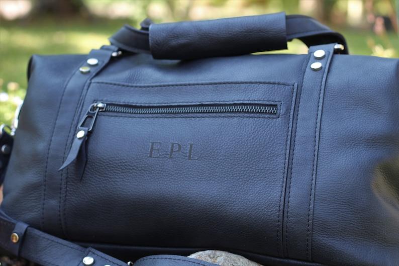Weekender overnight bag handmade of black italian leather mens womens leather travel handbag,leather duffle bag gym sports leather bag