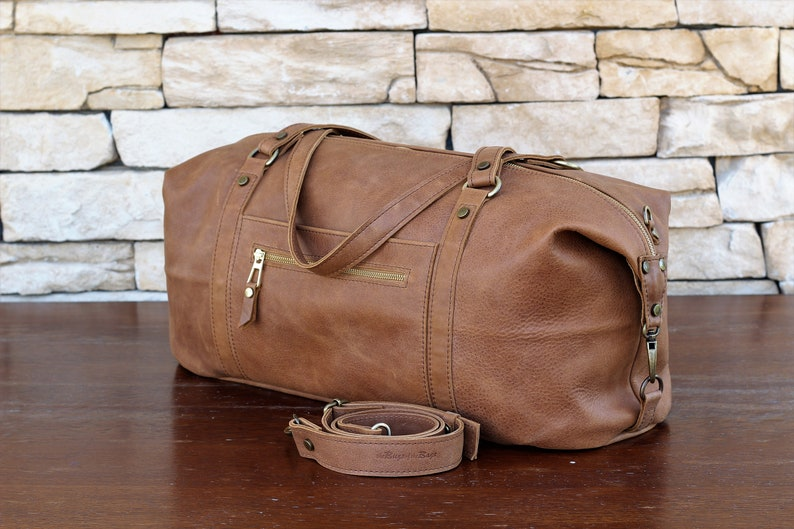 Leather duffel bag handmade of italian leather mens womens  91f89ba32f662