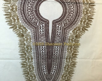 Cream/Ivory/Gold Angelina/Dashiki Fabric - By the panel (2 yards)