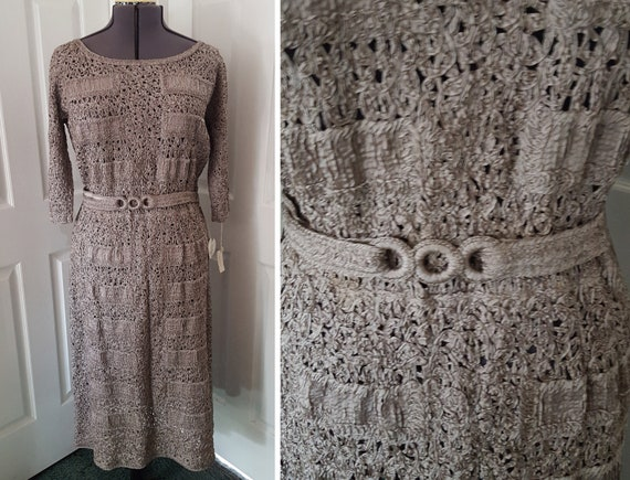 Vintage 1950's Ribbon Weave Dress by Glengyle Excl