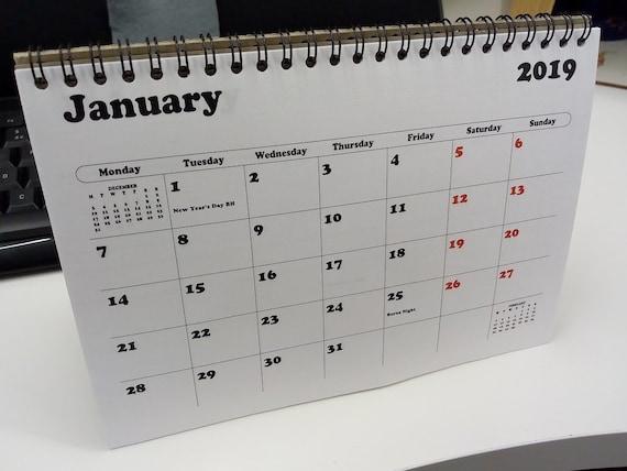 Stand Up Desk Calendar 2021 2021 UK A5 Desk Top Flip Calendar Month To View Stand Up | Etsy