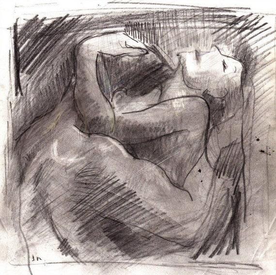 Making Love Loose Figure Drawing Print Etsy