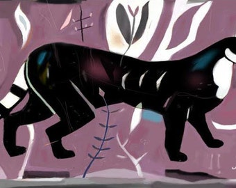 Prowling Purple Puma, hand finished print