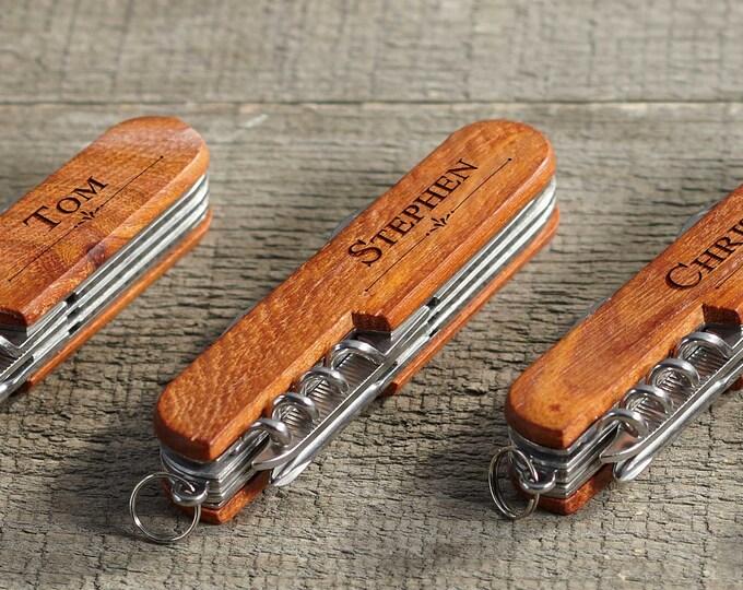 Wooden Pocket Knife, Custom Pocket Knife, Personalized Groomsmen Gift Pocket Knife ,Fathers Day, Folding Knife, Multi Use Knife