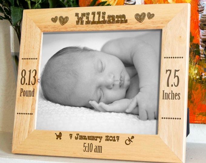 Personalized engraved frame, Custom photo frame, New baby frame, new born frame