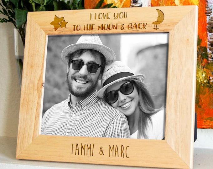 Personalized engraved frame, Custom photo frame, Valentine gifts, Gifts for couple