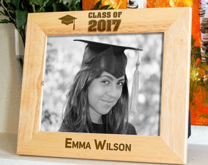Personalized engraved frame, Custom photo frame, Graduation frame, Class of 2017 frame
