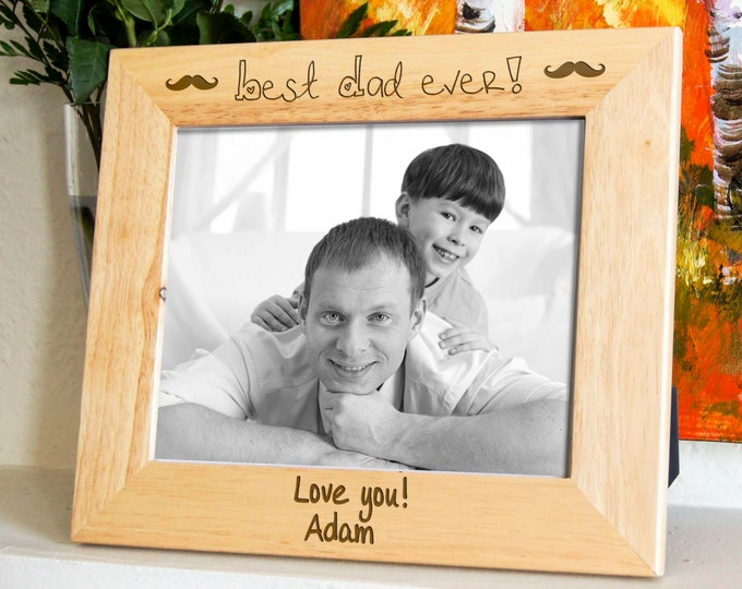 Personalized engraved frame, Custom photo frame, Fathers day gifts, Gift for him