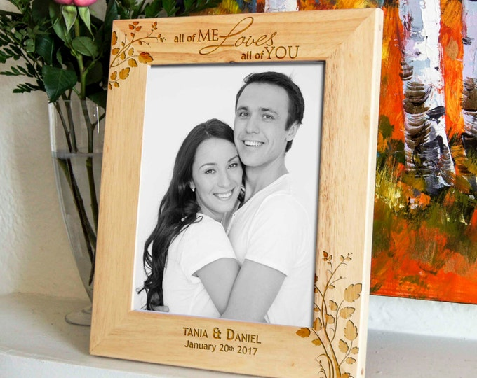 Personalized engraved frame, Custom photo frame, Frame for a couple, valentine gifts, wedding gifts