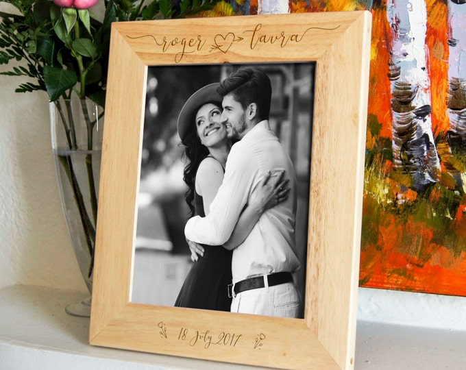Personalized engraved frame, Custom photo frame, Frame for a couple, valentine gifts