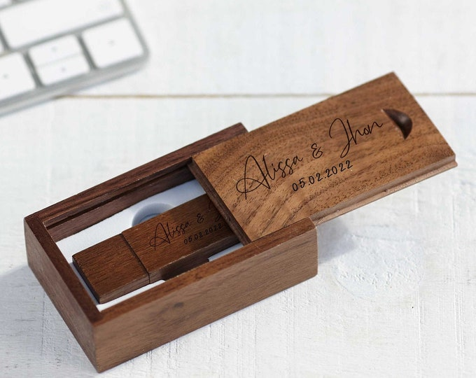 Personalized Wooden USB 16GB, Engraved USB In a box, Wedding Flash Drive, Memory Drive, Custom Flash Drive, Memory Stick