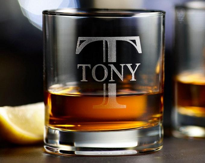 Personalized Whiskey Glass, Groomsmen Gift, Custom Rocks Glass, Engraved Glass, Scotch Glasses, Monogram Whiskey Glass