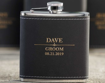 Personalized Set Of 8 Flasks, Groomsmen Wedding Gift, Best Man Leather Flasks, Customized Wedding Flasks, Engraved Leatherette Flasks