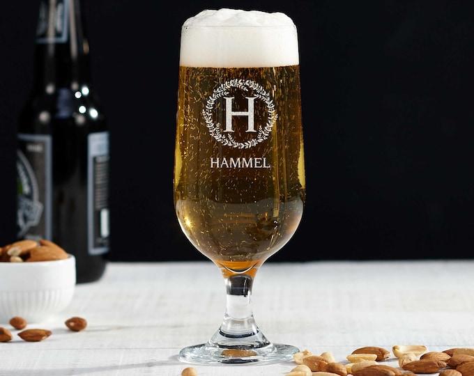 Personalized Glasses, Custom Engraved Beer Glass, Wedding Gift for Groomsmen, Monogrammed Beer Glass, Groomsmen gifts, Pilsner Beer glass