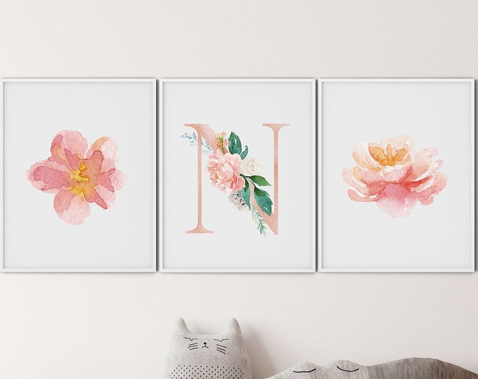 Set of 3 Nursery Wall  Print, Monogrammed Poster, Personalized Print, Personalized Kid's Print, Personalized Poster, Custom Print
