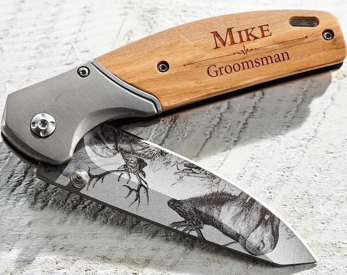 Personalized Knife, Engraved Knife, Pocket Knife, Groomsmen Knife, Groomsmen Knives, Custom Knife, Folding Knife