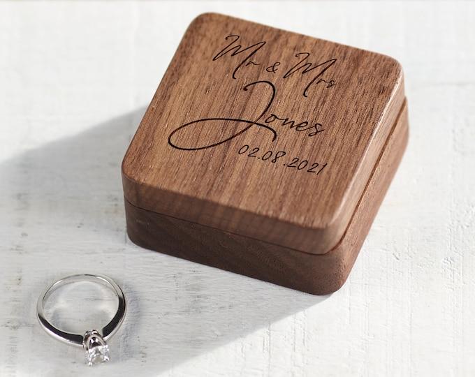 Personalized Wedding Ring Box, Ring Bearer Ring Box, Engagement Ring Box, Ring Box Holder, Custom Wood Ring Box, Proposal Ring Box