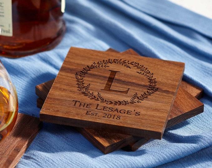 Personalized walnut coasters, housewarming gifts, wedding gifts, custom engraved coasters