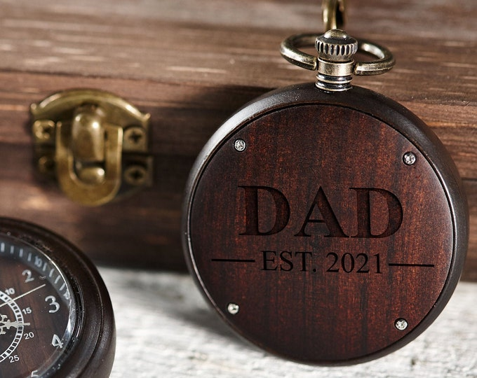 Wooden Personalized Pocket Watch, Custom Walnut Pocket Watch with Chain, Engraved Watch, Father's Day Gift, Gift For Him, Christmas Gift