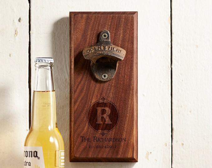 Personalized Bottle opener, Customized beer opener, engraved wood bottle opener, Wall mounted bottle opener, Gift for him, Christmas gift