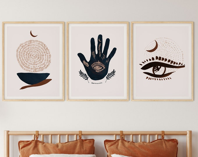 Set of 3 Modern Mystic Wall  Print, Landscape Poster, Personalized Print, Abstract Print, Personalized Poster, Custom Print