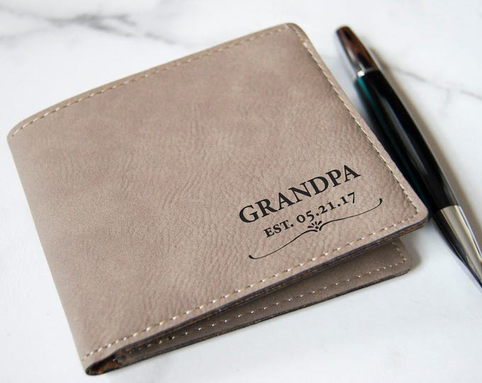 Personalized Mens Wallet, Custom leather Wallets, Leatherette wallets, Engraved Leather Wallet, Grandfather Announcement, Gifts for him