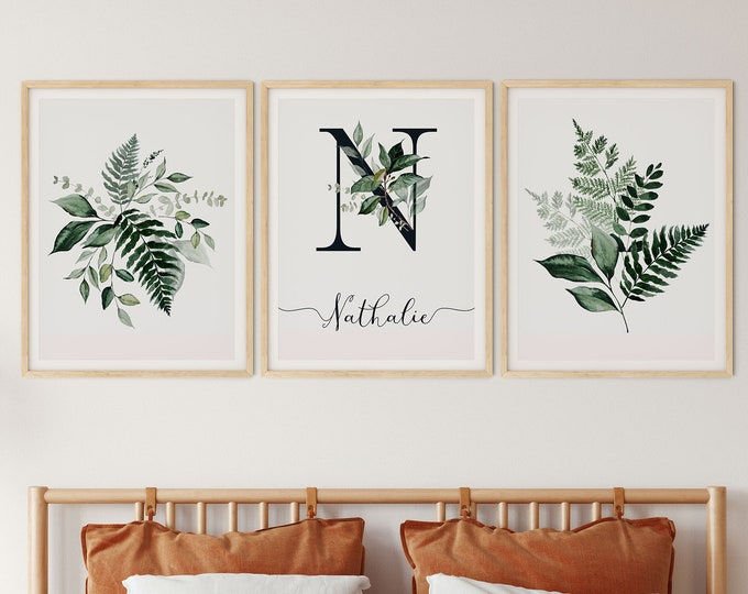 Set of 3 Modern Botanica Wall  Print, Landscape Poster, Monogrammed print, Personalized Print, Personalized Poster, Custom Print