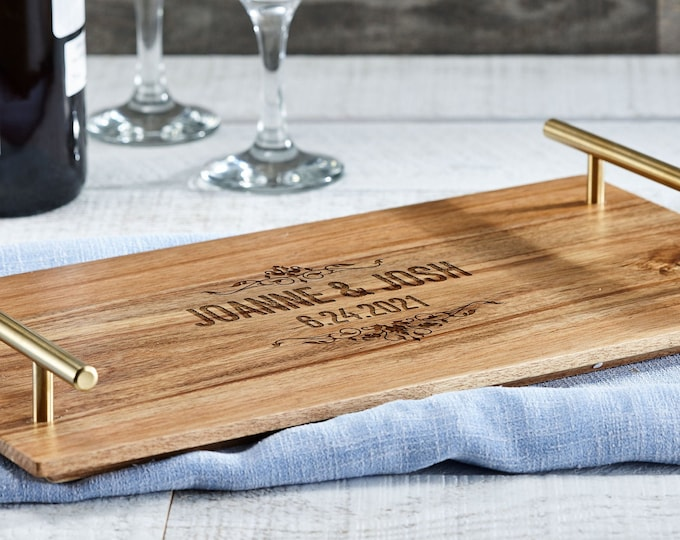 Personalized Serving Tray, Custom serving tray with golden handle, Acacia wood tray,  Wedding Gift, Housewarming gifts, Christmas Gift