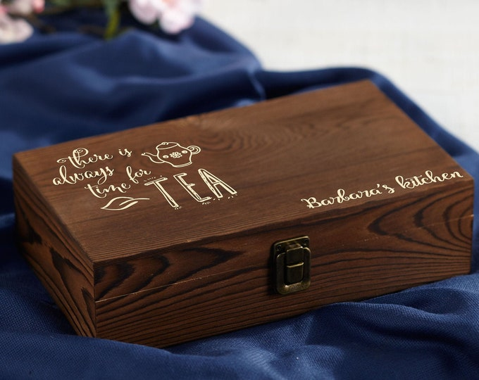 Personalized Tea Box, custom engraving Tea Box, Mothers day Gift, Wooden Tea Box, Gift for her, Christmas gift