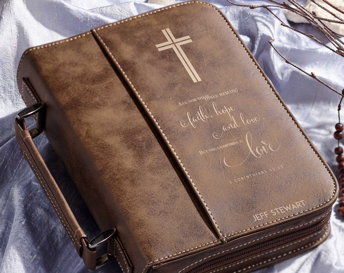 Personalized bible cover,  Leather Bible Cover, Custom Bible Cover, Christian Gifts for Men, First Communion  gift