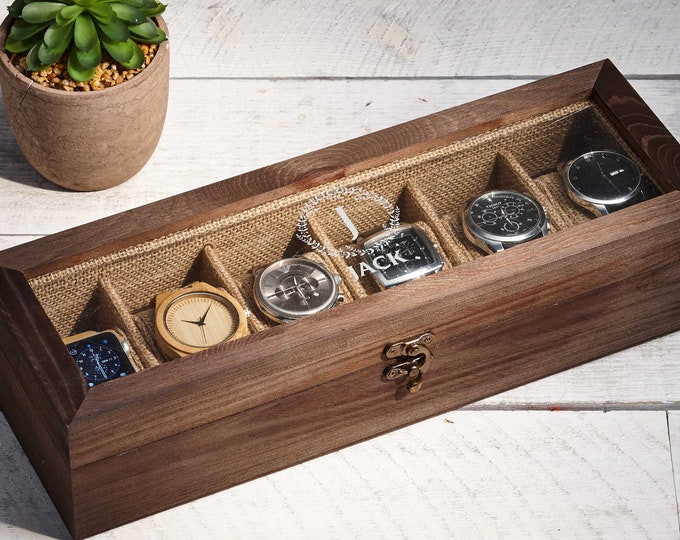 Personalized Watch Box, Custom Watch Storage Case, Wood Box for 6 Watches, Men's Watch Box, Watch Storage, Gift For Him, Christmas Gift