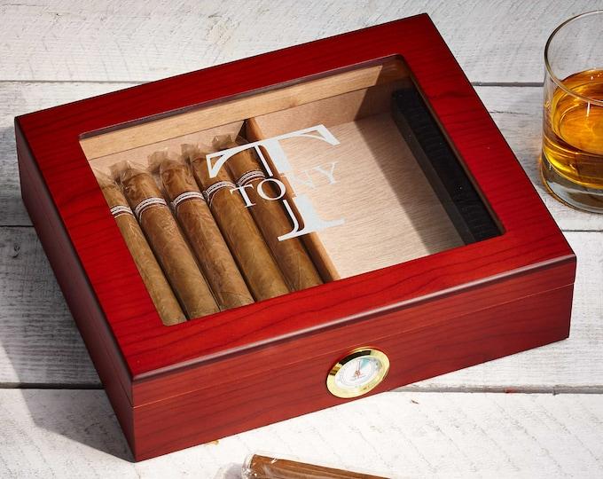 Personalized Cigar Humidor, Engraved Glass Top Cigar Box, Custom Humidor Gift Set, Monogramed Cigar Humidor, Cigar Holder Box, Cigar Kit