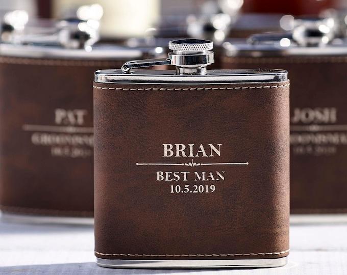 Personalized Set Of 6 Flasks, Groomsmen Wedding Gift, Best Man Leather Flasks, Customized Wedding Flasks, Engraved Leatherette Flasks