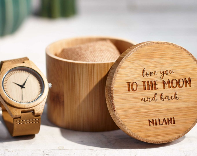 Personalized Wooden Men's Watch, Engraved Watch for Men , Wood Watch box, Gift for Him, Husband gift, Groomsmen Gift, Fathers day gift