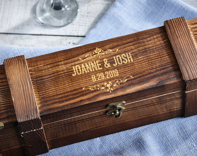 Personalized wooden wine box, Rustic wine box, Wooden wine crate, anniversary gift, wedding gift, corporate gift, Christmas gift