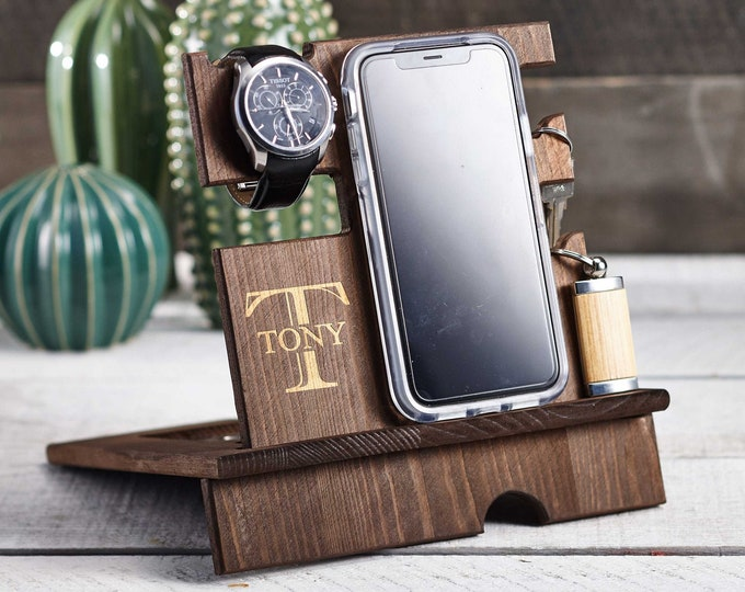 Personalize wood  phone stand, Custom watch stand, Personalize wood organizer, Wood Docking Station, Gift for him, Organizer station
