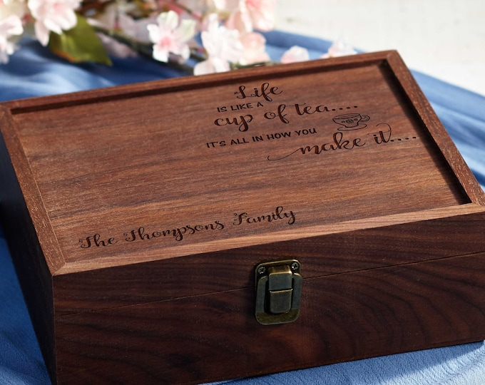 Personalized Tea Box, custom engraving Tea Box, Mothers day Gift, Walnut Tea Box, Gift for her, Christmas gift