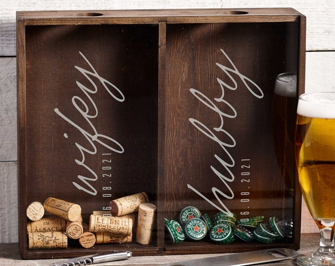 Personalized Beer Cap Holder, Wine Cork Holder, Customized Wooden Beer Cap Shadow Box, Engraved Wine Cork Shadow Box, Gift For The Couple