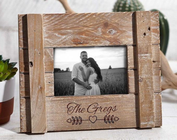 Personalized Rustic engraved frame, Custom photo frame, Frame for a couple, valentine gifts, wedding gifts, Christmas gift