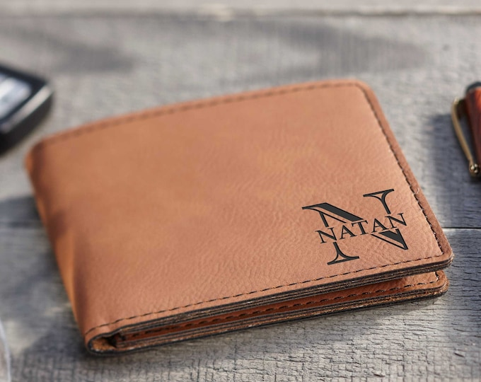 Personalized Mens Wallet, Custom leather Wallets, Leatherette wallets, Engraved Leather Wallet, Gifts for him, Groomsmen Gifts