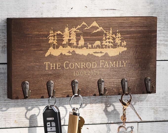 Personalized  Key hanger, Custom Key hook, Engraved key holder for wall, Mask hanger, Housewarming gift, Gift for the couple