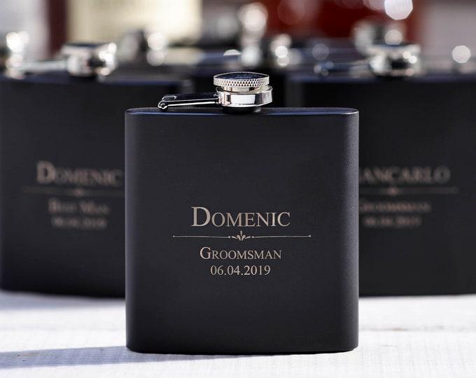 Personalized Set Of 6 Flasks, Groomsmen Wedding Gift, Best Man  Flasks, Customized Wedding Flasks, Engraved Flasks