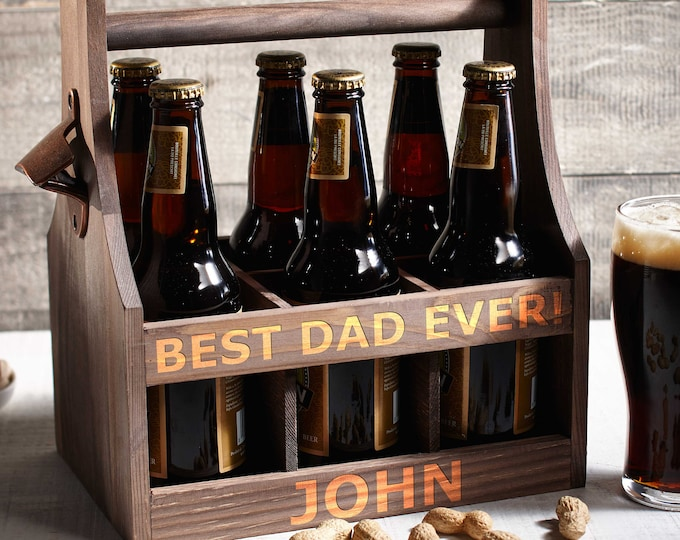 Personalized Beer Caddy, Wooden beer Carrier,  Six Pack Beer Holder, Father's day gift, Gift for him, Groomsman Gift, Christmas Gift