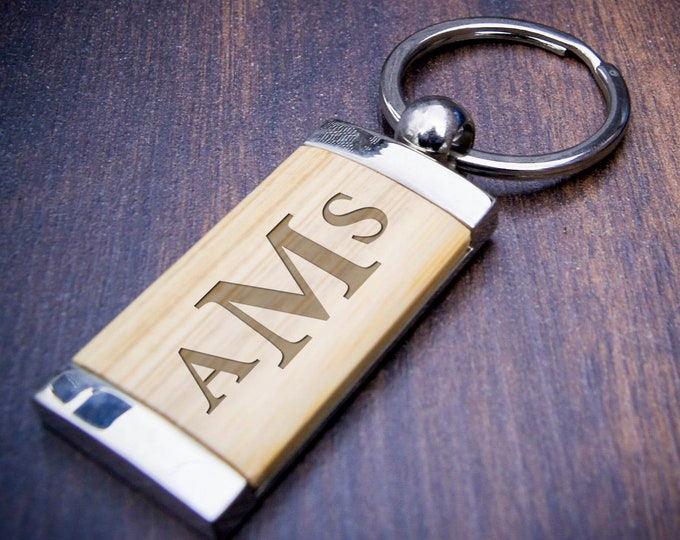 Engraved keychain, custom keychain, bamboo key chain, personalized key chains, Engrave Key Chains