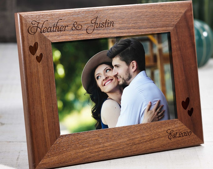 Personalized engraved Walnut frame, Custom photo frame, Frame for a couple, valentine gifts, 4x6 5x7 8x10 frame