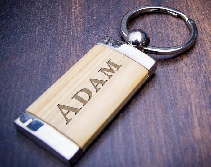 Engraved keychain, custom keychain, bamboo key chain, personalized key chain