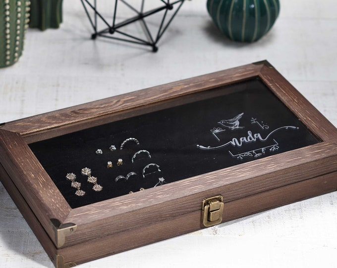 Personalized Jewelry Display, jewelry organizer, engraved Jewelry box, Large Jewelry Case, Gift for her, Mother's day gift, Christmas gift